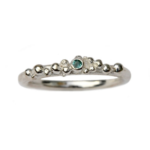 ORB,stacking,ring,1,-,silver,&,green,tourmaline,Katerina Damilos, ORB, silver and tourmaline ring, contemporary rings, bubbles, spheres, granulation, granulated, birthday jewellery, stacking ring