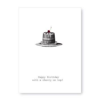 Happy,Birthday,With,A,Cherry,On,Top,Greeting,Card,cake, cherry, greeting card, tokyo milk