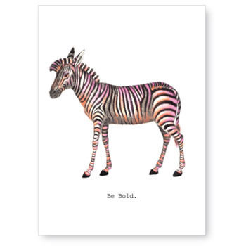 Be,Bold,(Zebra),Greeting,Card,zebra, greeting card, tokyo milk