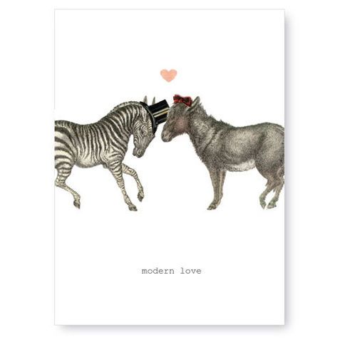 Modern,Love,(Zebra/Donkey),Greeting,Card,romance, greeting card, tokyo milk