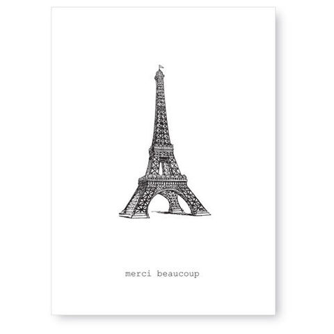 Merci,Beaucoup,(Eiffel,Tower),Greeting,Card,french, tokyo milk, greeting card