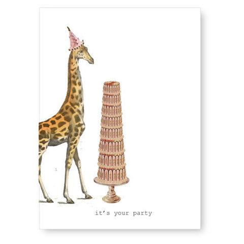 It's,Your,Party,(Giraffe),Greeting,Card,giraffe, birthday, greeting card, tokyo milk
