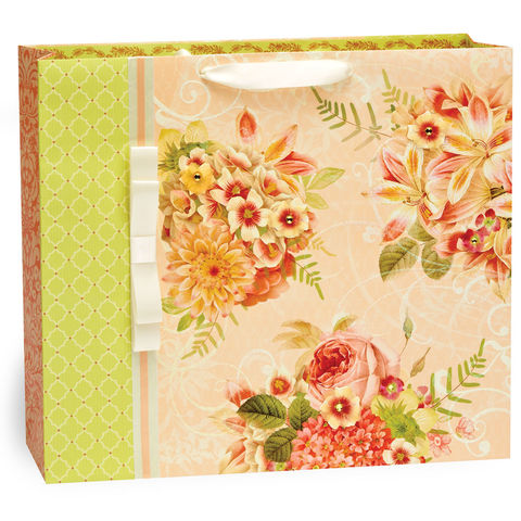 Floral,Bouquet,and,Ribbon,Jumbo,Bag,papyrus, gift bag