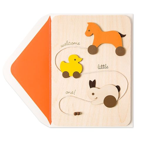 Welcome,Little,One,Wood,Duck,Pull,Toy,papyrus, new baby