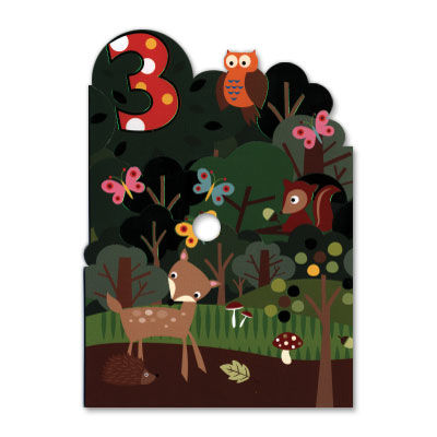 Age,3,Woodland,Critters,Tri-Fold,papyrus, birthday, handmade, greeting, card, 3, three, years, old, international, hong kong