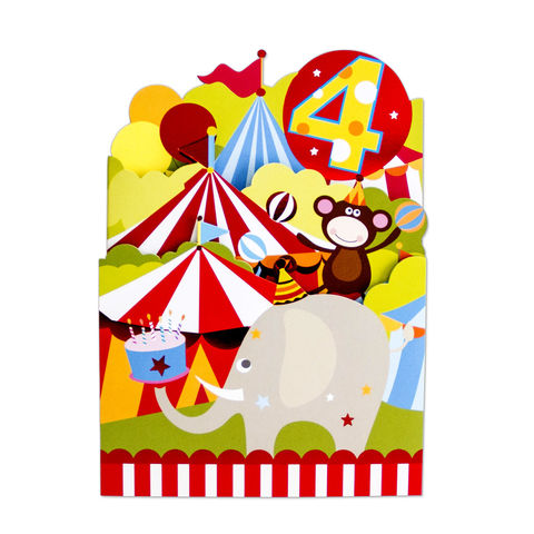 Age,4,Circus,Animals,Tri-Fold,papyrus, birthday, handmade, greeting, card, 4, four, years, old, international, hong kong