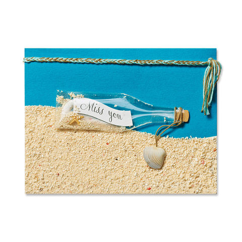 Miss,You,in,a,Bottle,papyrus, friendship, handmade, greeting, card, international, hong kong, bottle, sea, miss you