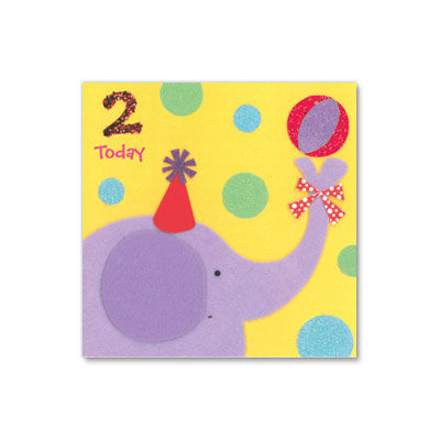 2,Today,Elephant,papyrus, birthday, handmade, greeting, card, two, years, old, 2, international, hong kong