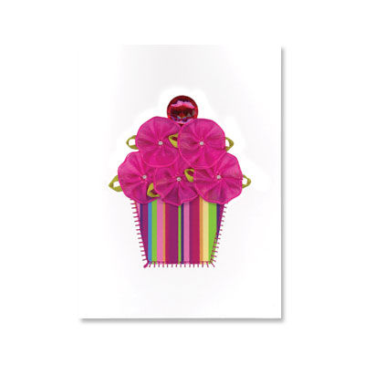 Fabric,Flower,Cupcake,papyrus, birthday, card, handmade, international, hong kong, cupcake