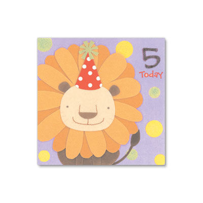 5,Today,Handmade,Lion,papyrus, birthday, handmade, greeting, card, 5, five, years, old, international, hong kong