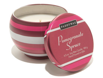 Pomegranate,Spruce,Decorative,Tin,Candle,paddywax, candle, candles, holiday, christmas, pomegranate, handmade, soy wax, gift