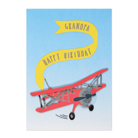 Biplane,with,Banner,(Grandfather),papyrus, handmade, greeting card, grandpa, grandfather, international, hong kong, birthday
