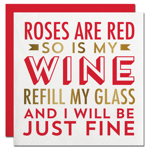 Roses,Are,Red,Napkins,slant, valentine's day, napkins, party