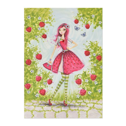 Strawberry,Shortcake,Girl,papyrus, strawberry shortcake, card, birthday, international, handmade, hong kong