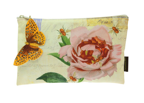 Roses,with,Bees,Cosmetic,Bag,tokyomilk, burwell industries, roses with bees, gin and rosewater, gin & rosewater, cosmetic bag
