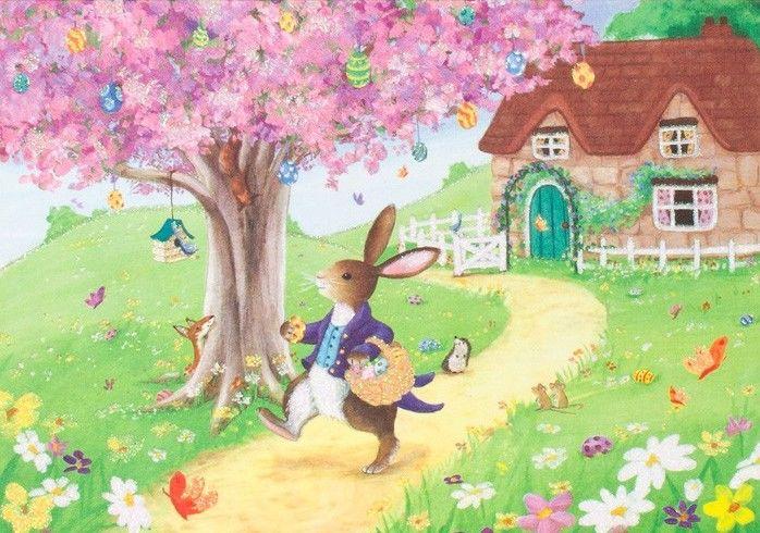 Easter Rabbit Delivering Eggs