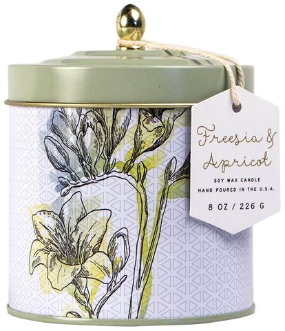 Freesia,+,Apricot,Tin,Candle,paddywax, freesia, apricot, tin, decorative, candle, flower market, spring, floral