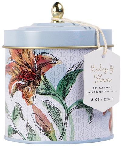 Lily,+,Fern,Tin,Candle,paddywax, lily, fern, tin, decorative, candle, flower market, spring, floral