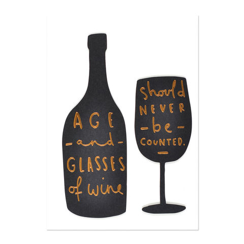 Age,&,Wine,Quote,papyrus, handmade, greeting, card, international, hong kong, birthday, age, wine, humor