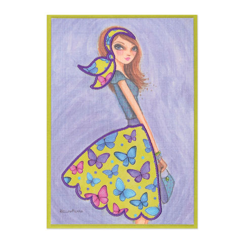 Fashionable,Butterfly,Fabric,Skirt,papyrus, handmade, greeting card, birthday, bella pilar, international, hong kong