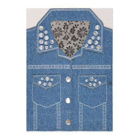 Girly,Denim,Jacket,with,Pearls,papyrus, handmade, greeting, card, denim, jacket, birthday, international, hong kong