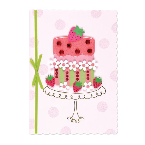 Strawberry,Shortcake,with,Daisies,papyrus, birthday, handmade, greeting, card, strawberry, shortcake, international, hong kong