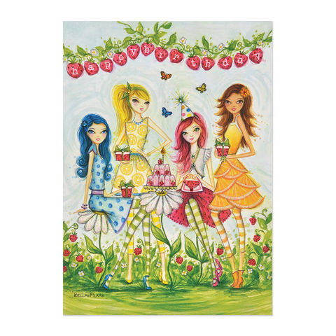 Strawberry,Shortcake,Gals,papyrus, handmade, greeting, card, strawberry, shortcake, girls, gals, fashion, international, hong kong