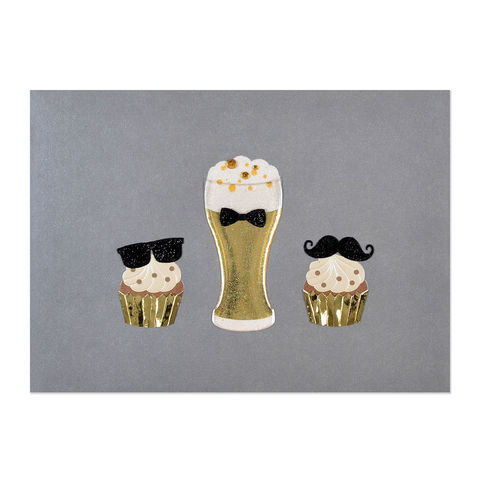 Beer,&,Cupcakes,on,Silver,papyrus, handmade, greeting, card, masculine, men, beer, cupcakes, international, hong kong
