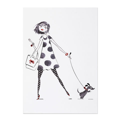 Shopping,Girl,with,Dog,on,Leash,papyrus, handmade, art, girl, gal, greeting, card, birthday, anne keenan higgins, international, hong kong