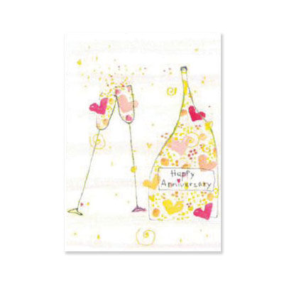 Champagne,Bottle,&,Flutes,papyrus, handmade, greeting, card, anniversary, international, hong kong