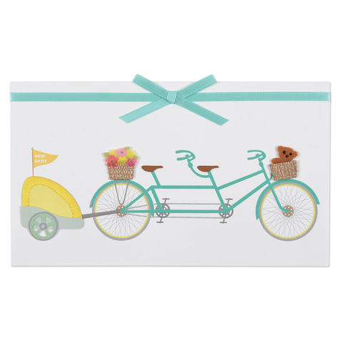 Tandem,Bike,with,Baby,Carriage,papyrus, handmade, greeting, card, new baby, birth, child, international, hong kong