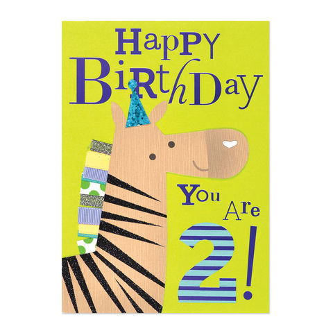 Fun,Birthday,Age,2,Zebra,papyrus, handmade, greeting, card, age, two, 2, age specific, birthday, international, hong kong