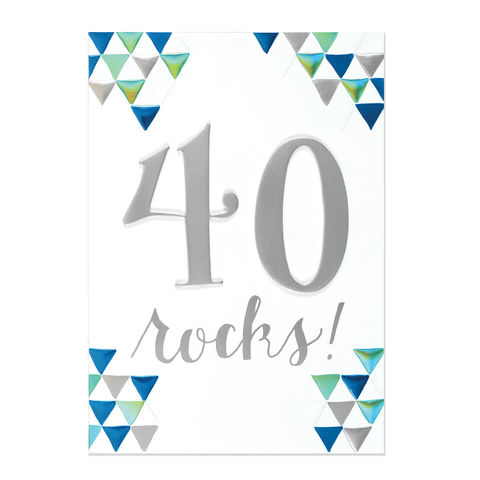40,Rocks,papyrus, handmade, greeting, card, birthday, 40th, 40, forty, international, hong kong