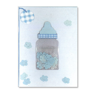 Blue,Baby,Bottle,papyrus, handmade, greeting, card, new baby, boy, international, hong kong