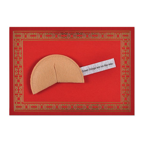 Felt,Fortune,Cookie,papyrus, handmade, greeting, card, congratulations, good luck, best of luck, international, hong kong