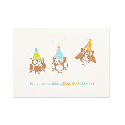 Party,Hat,Owls,Trio,Letterpress,papyrus, handmade, greeting, card, birthday, owls, animals, letterpress, international, hong kong