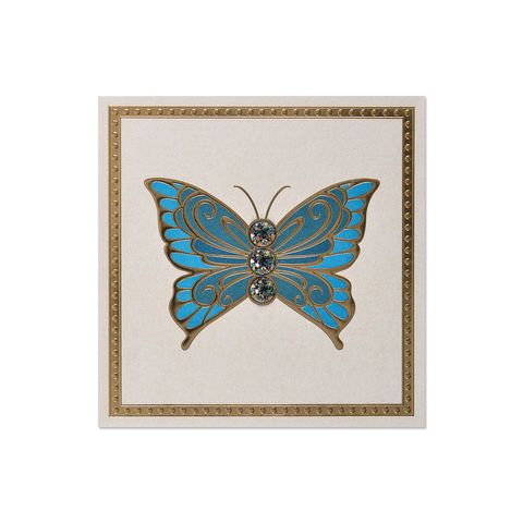 Blue,Elegant,Gem,Butterfly,papyrus, handmade, greeting, card, butterfly, gem, birthday, international, hong kong