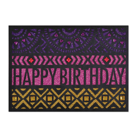 Bold,Laser-Cut,Graphics,on,Glitter,papyrus, handmade, greeting, card, birthday, international, hong kong