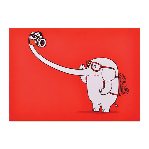 Elephant,Selfie,papyrus, handmade, greeting, card, elephant, selfie, animal, camera, international, hong kong