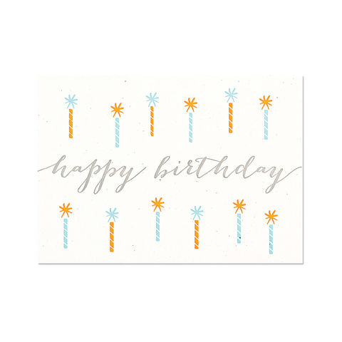 Teal,Candles,Letterpress,papyrus, handmade, greeting, card, letterpress, birthday, eco, international, hong kong