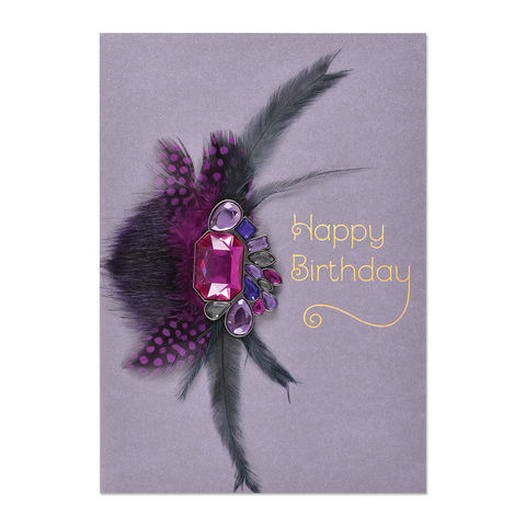 Purple,Gems,Feather,Brooch,papyrus, handmade, greeting, card, birthday, international, hong kong