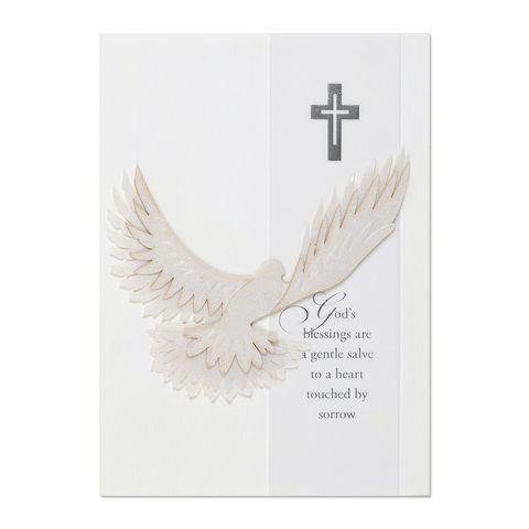 Glitter,Accented,White,Dove,papyrus, handmade, greeting, card, sympathy, religious, dove, bird, international, hong kong
