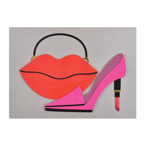 Lips,Purse,&,Lipstick,Shoe,papyrus, handmade, greeting, card, fashion, for her, birthday, international, hong kong