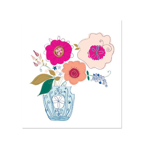 Get,Well,Whimsy,Florals,papyrus, handmade, greeting, card, get well, sick, flowers, floral, vase, international, hong kong