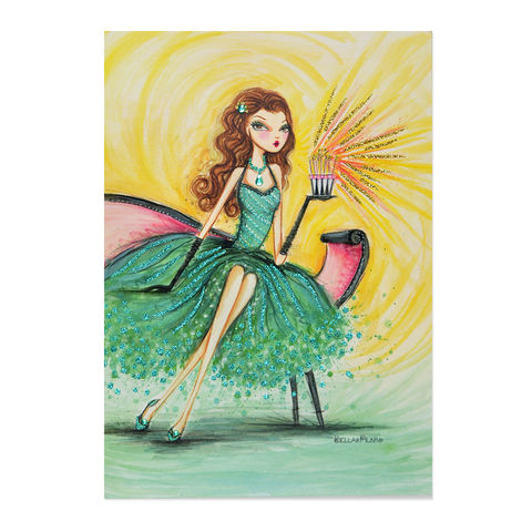 Emerald,Girl,on,Chaise,papyrus, handmade, greeting, card, birthday, bella pilar, emerald, fashion, trendy, international, hong kong