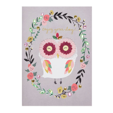 Femme,Owl,papyrus, handmade, greeting, card, birthday, owl, international, hong kong