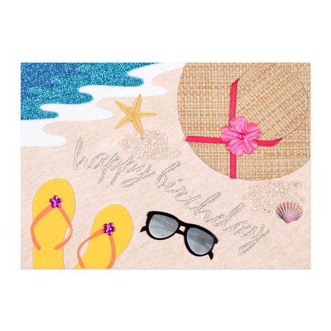 Beach,Scene,Birthday,papyrus, handmade, greeting, card, birthday, beach, sunglasses, sandals, international, hong kong