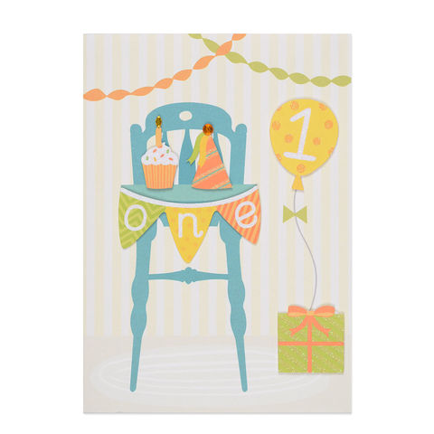 1st,Birthday,High,Chair,papyrus, handmade, greeting, card, birthday, 1st, 1, first, one, years, year, old, international, hong kong