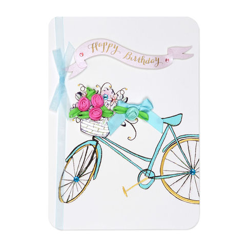 Ribbon,Flowers,Bike,papyrus, handmade, greeting, card, birthday, bike, bicycle, floral, flowers, flower, international, hong kong