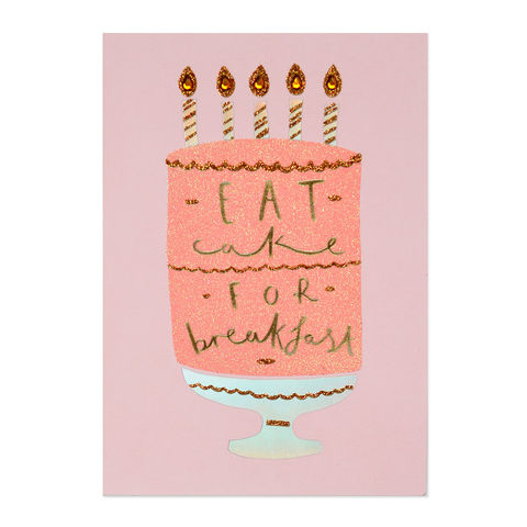 Glitter,Pink,Cake,for,Breakfast,papyrus, handmade, greeting, card, birthday, cake, dessert, sweets, international, hong kong